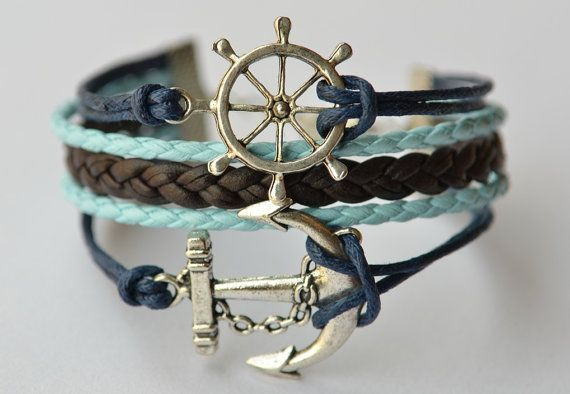 Silver Anchor & Rudder Charm Bracelet Brown And Blue by MissKids, $8.50