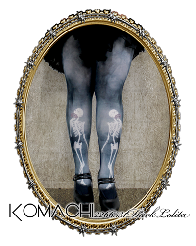 "【Tights no.4 Dead Silence】  ✝ 100% made in JAPAN ✝    ""I wear darkness; therefore I am"" This design evokes the elegance of Japanese women thanks to the classic pose of the skeletons. ✝ Fits PLUS and TALL sizes too! ✝ Buy it now at http://www.galaxybroadshop.com/products/detail.php?product_id=642"