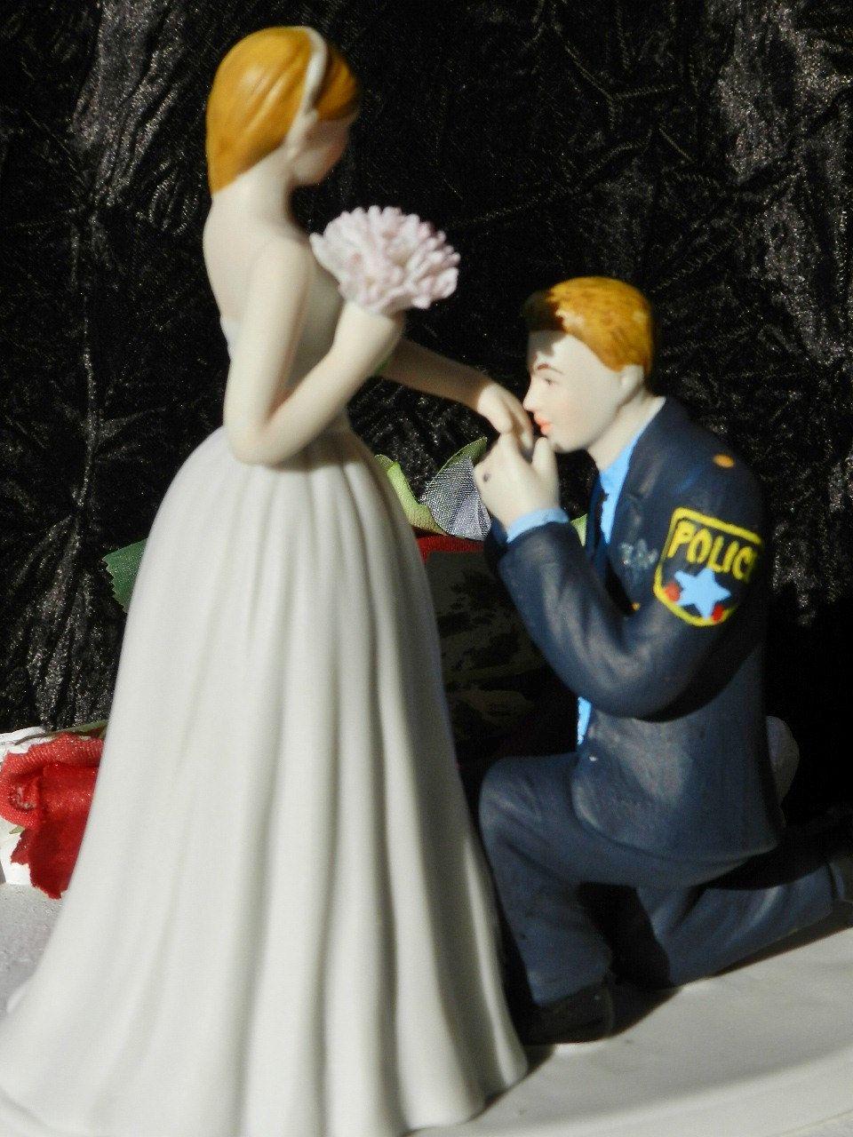 Police Officer Cop Groom Kiss Bride Hand Wedding Cake Topper KNEEL