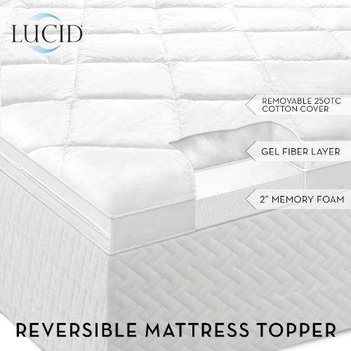 Lucid By Linenspa Two Sided Goose Down Alternative Memory Foam Mattress Topper 3 Year Warranty For Sale