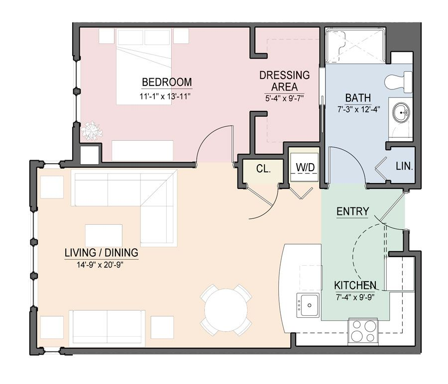 Open Floor Plan One Bedroom Apartment