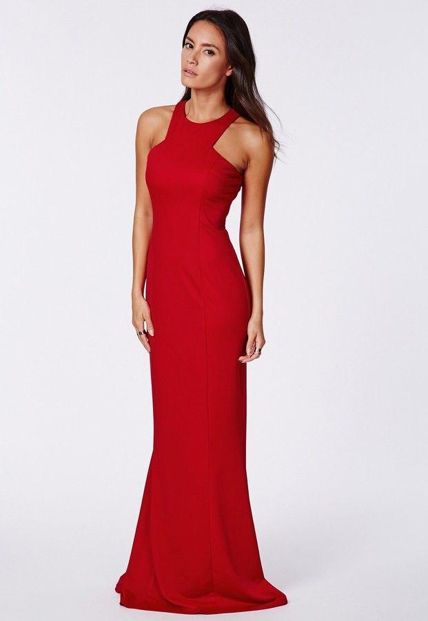 High neck red maxi dress