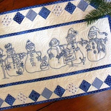 MACHINE EMBROIDERY DESIGNS ON CD OR USB SNOWMEN QUILT SQUARES COLLECTION