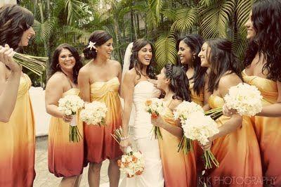 Orange and Yellow Ombre Bridesmaid Dresses