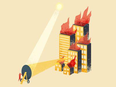 Illustrated Science 14 - sun gun illustration, phldesign, james olstein, jamesolstein, editorial, science, illustratedscience, ww2, city, fire