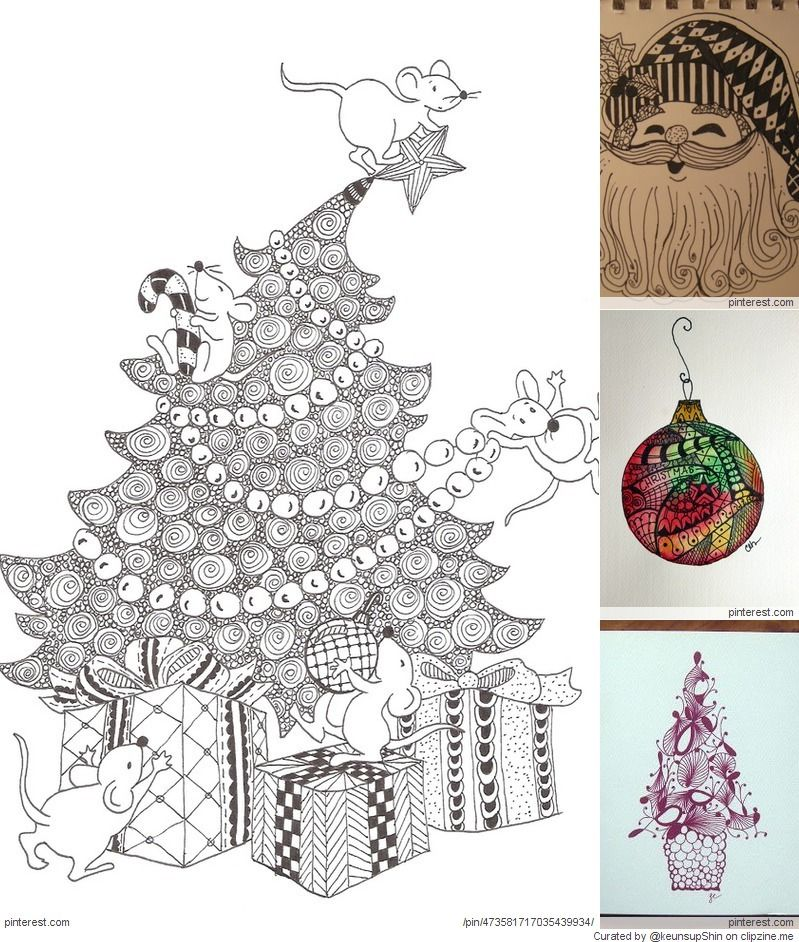 Pin By Betty Cassidy On Zentangle Zentangle Patterns Christmas Drawing Christmas Doodles