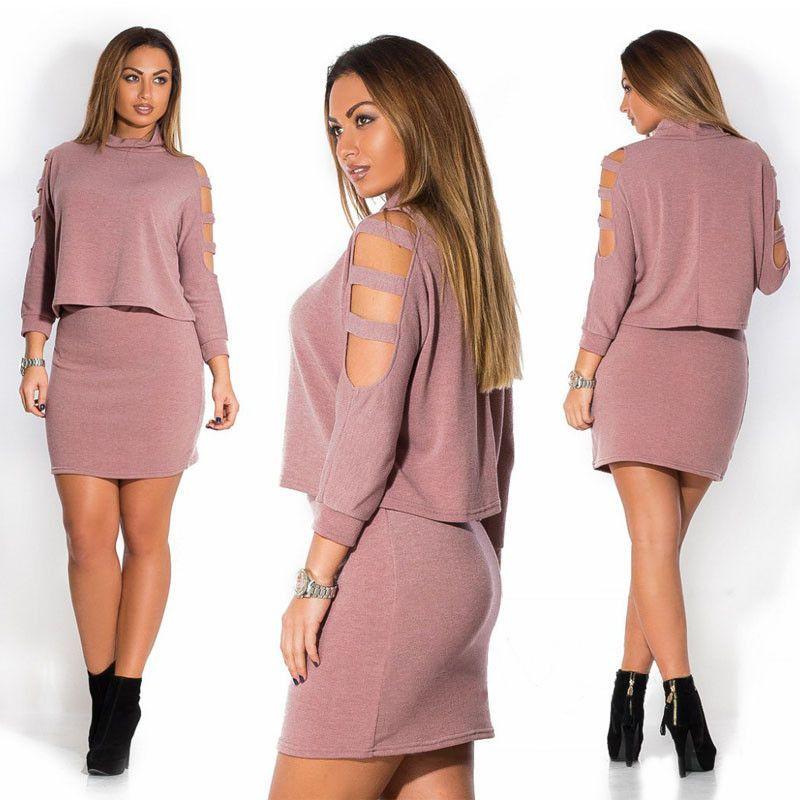 Long sleeve 2 piece set vestidos Autumn women dresses big sizes ...