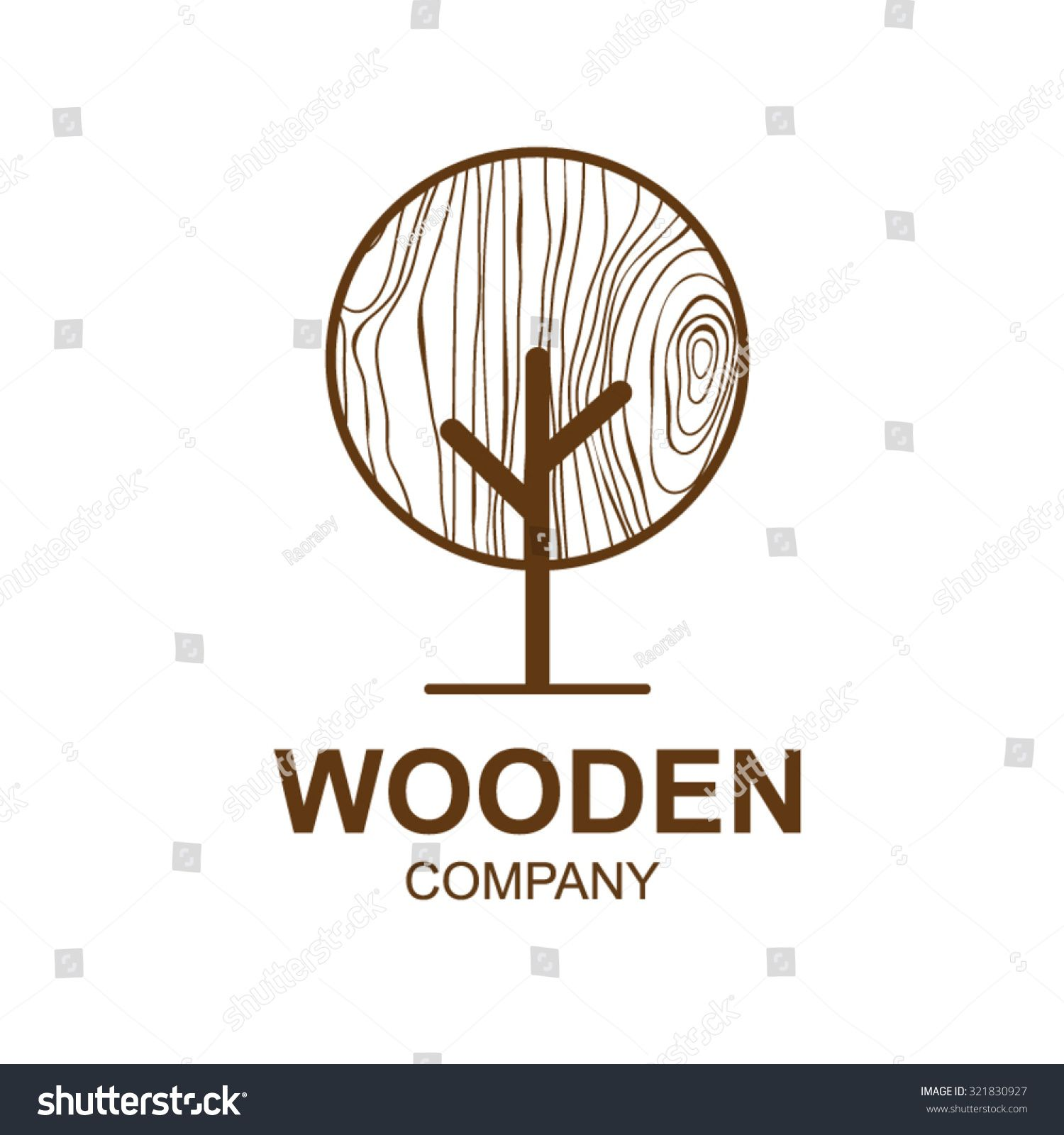 Abstract icon with wooden texture,tree Logo design,Vector