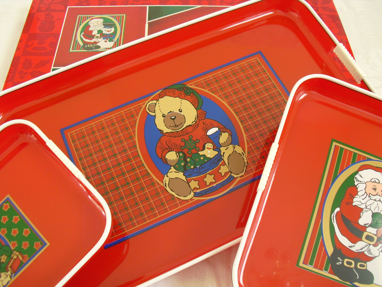 Decorative Plastic Serving Trays Fascinating Three Vintage Lacquer Nesting Tv Trays Celebrate The Season Design Inspiration