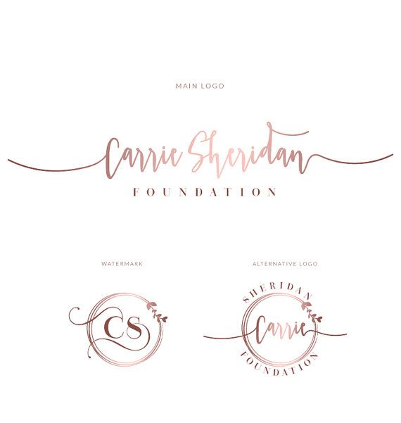 branding kit  branding package  premade logo  watercolor logo  logo design  rose gold logo