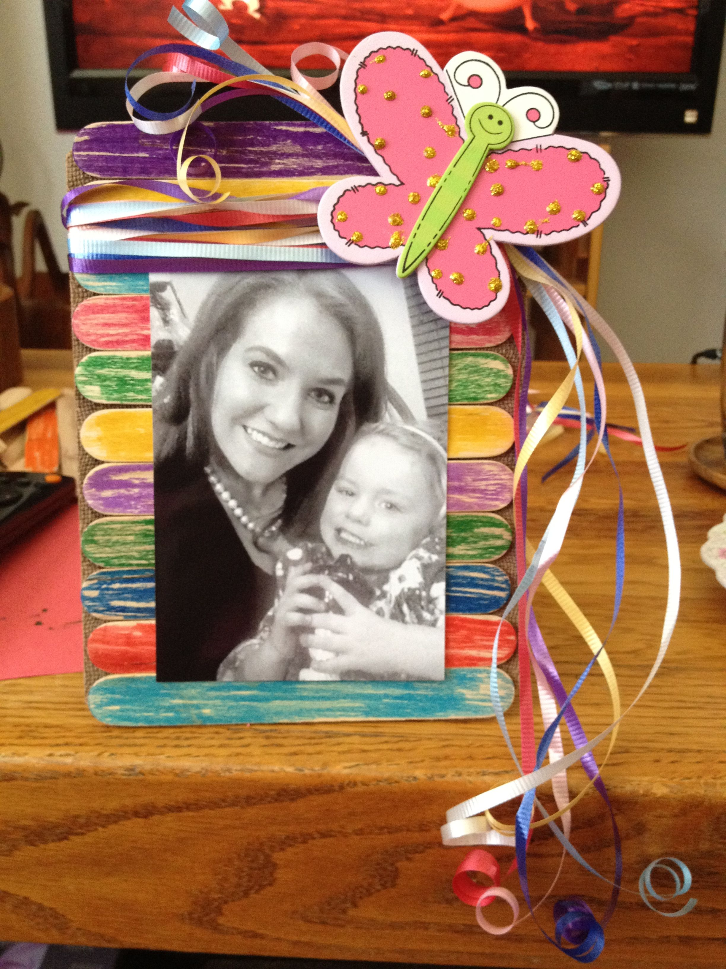 Picture frame made of popsicle sticks and ribbon :) | Craft Stick ...