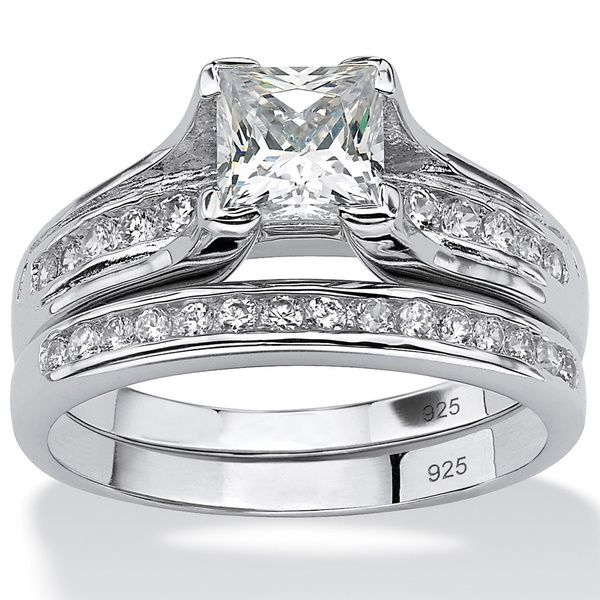Ultimate CZ Platinum over Silver PrincessCut and ChannelSet Round