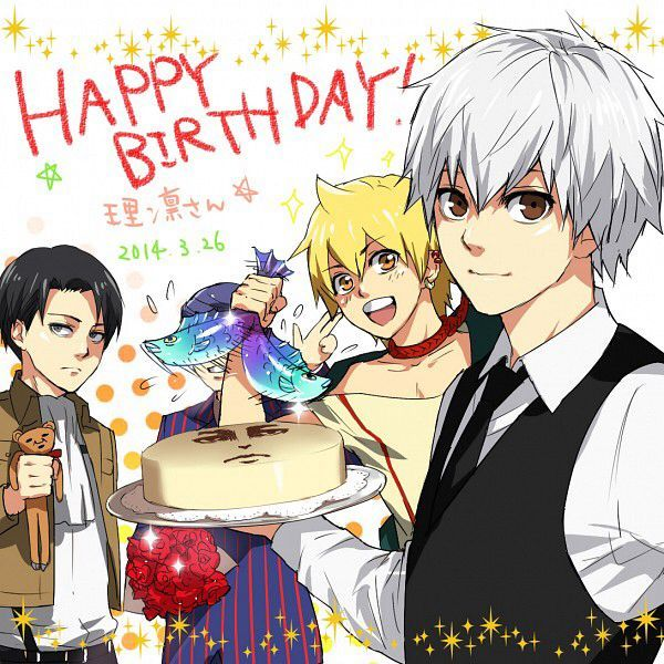 Happy Birthday! - Tokyo Ghoul,Magi and Attack on Titan<<< i see levis face on the cake 0-0