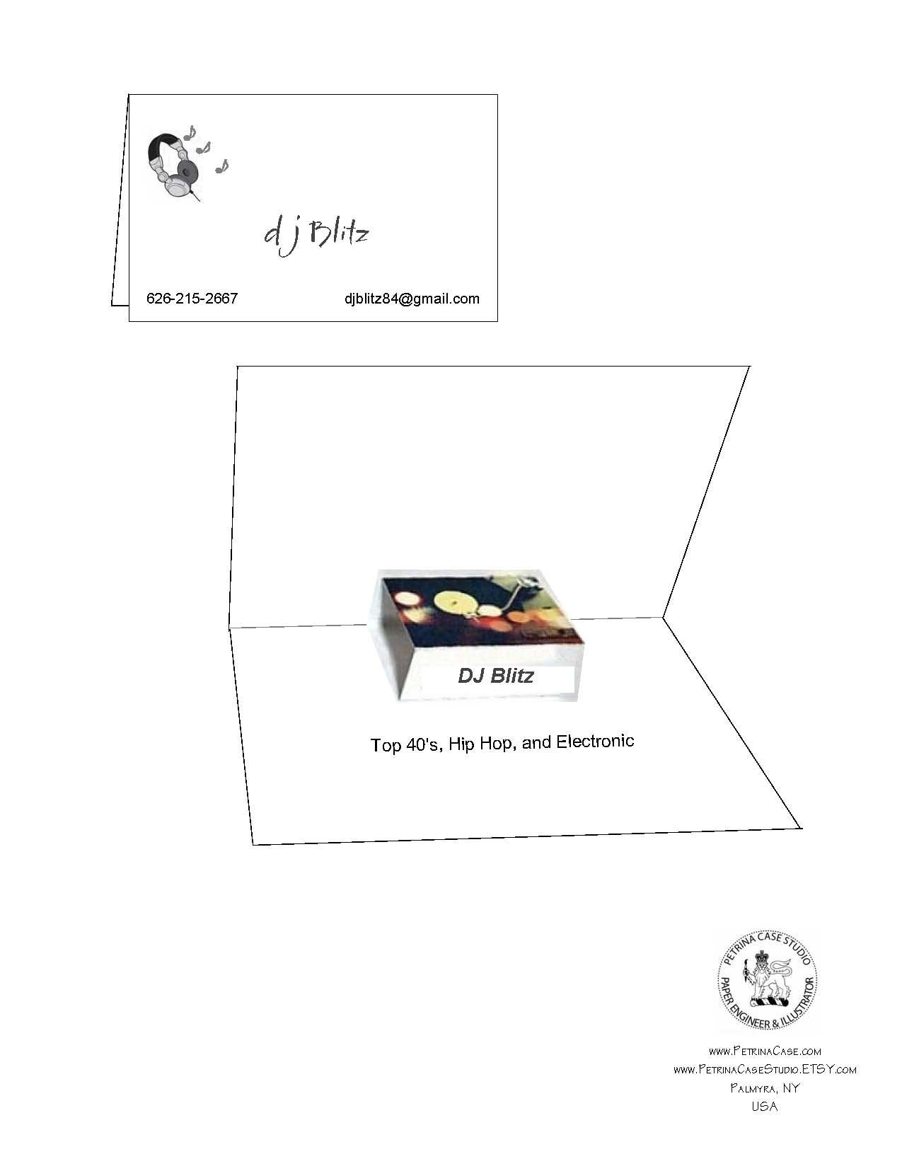 DJ Pop-Up Business Card. Business card folds closed. As the viewer ...