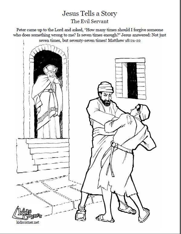 Of The Evil Servant Coloring Page Audio Bible Stories And Script Available At Kidscornerreframemedia