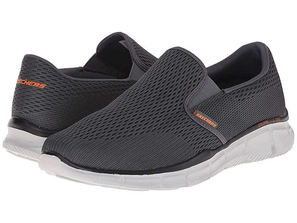 Skechers Equalizer Double Play Men S Slip On Shoes Charcoal Orange