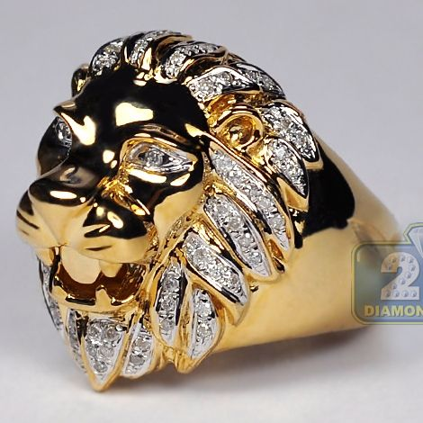 Mens Diamond Lion Head Pinky Signet Ring 10k Yellow Gold 41ct Mens Gemstone Rings Mens Pinky Ring Rings For Men