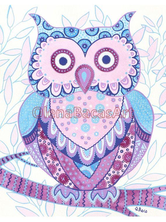 Kids Wall Art Owl ORIGINAL Painting Bird by NurseryRoomDecor, $40.00