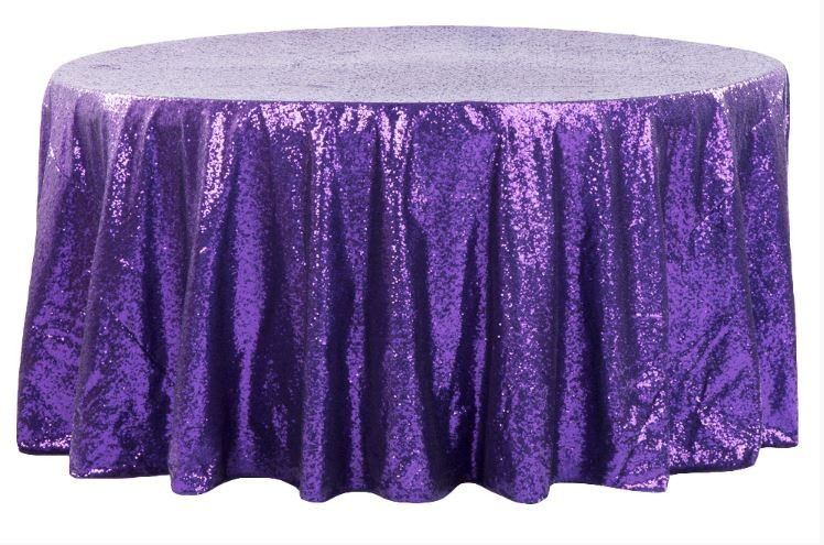 Glitz Sequin 132 Round Tablecloth Purple Sequins Tablecloth