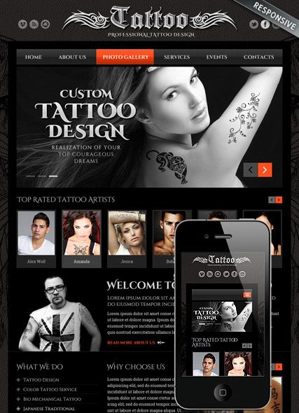 Tattoo design website template, bootstrap mobile responsive ...