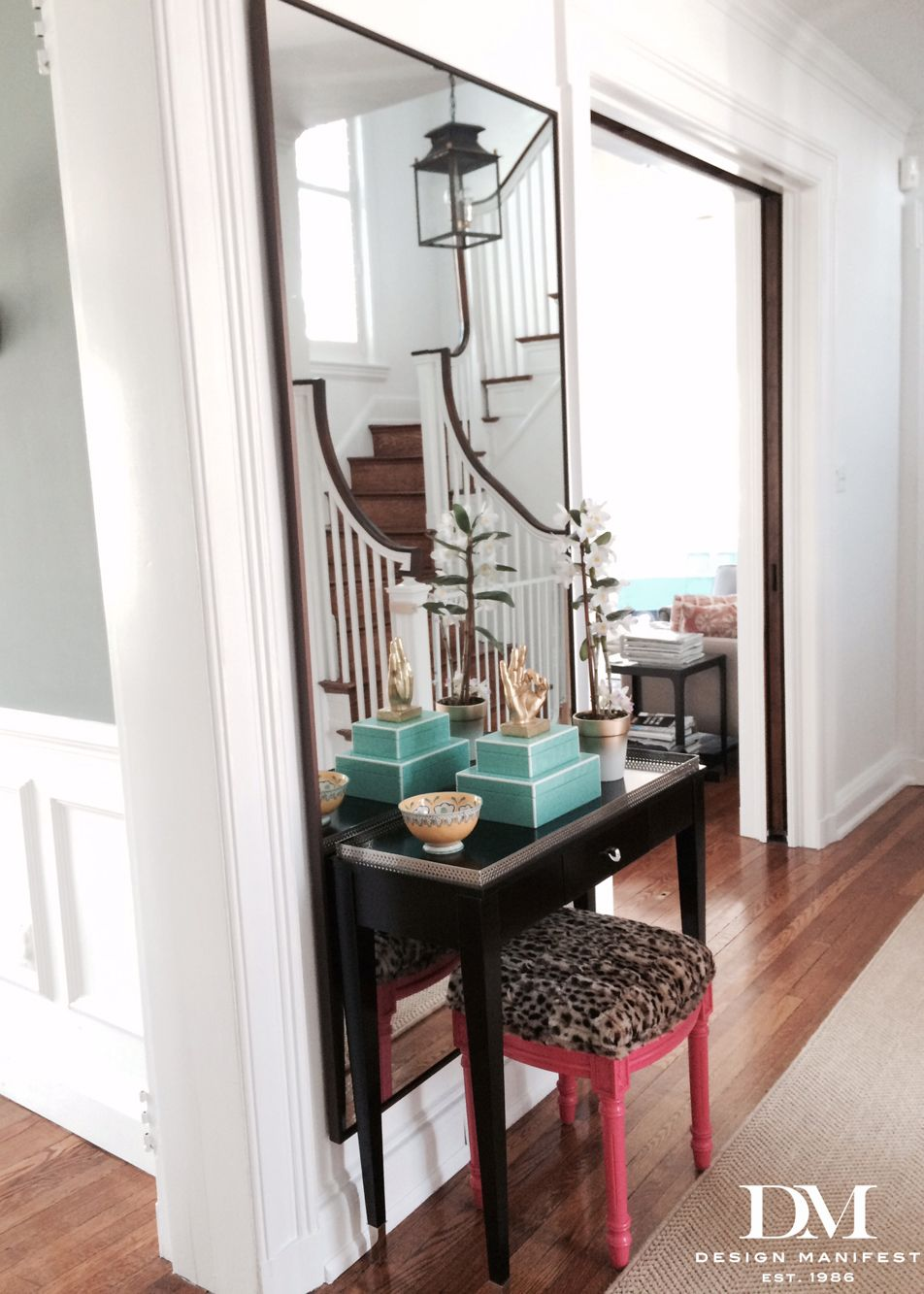 Foyer console table in front of floor full mirror pink and foyer console table in front of floor full mirror pink and leopard stool geotapseo Choice Image