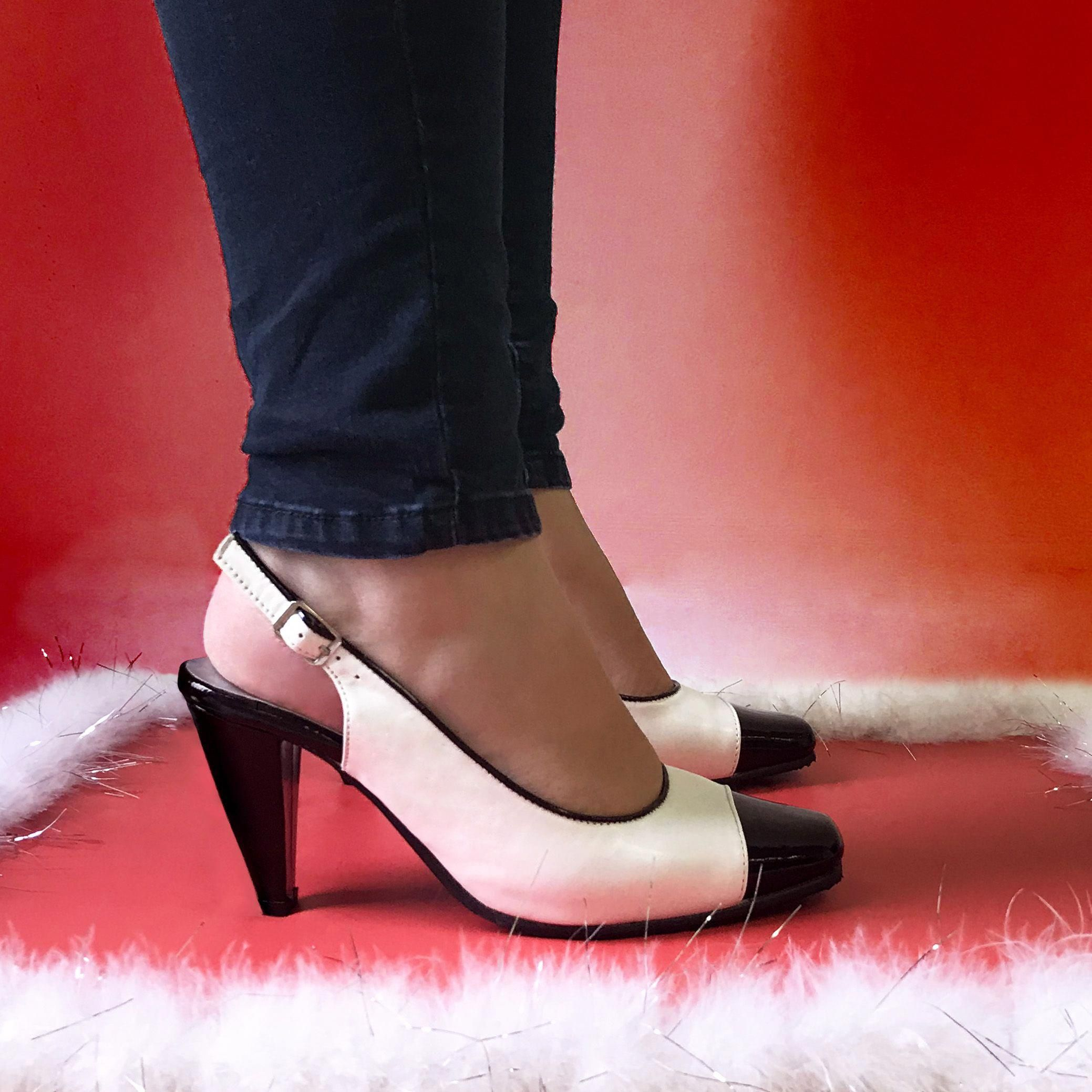 367167031c13 Talk about some red-hot heels! 🔥👠 Roxy by PEERAGE is a contrasting black  and white leather pump that is a great fall footwear choice!