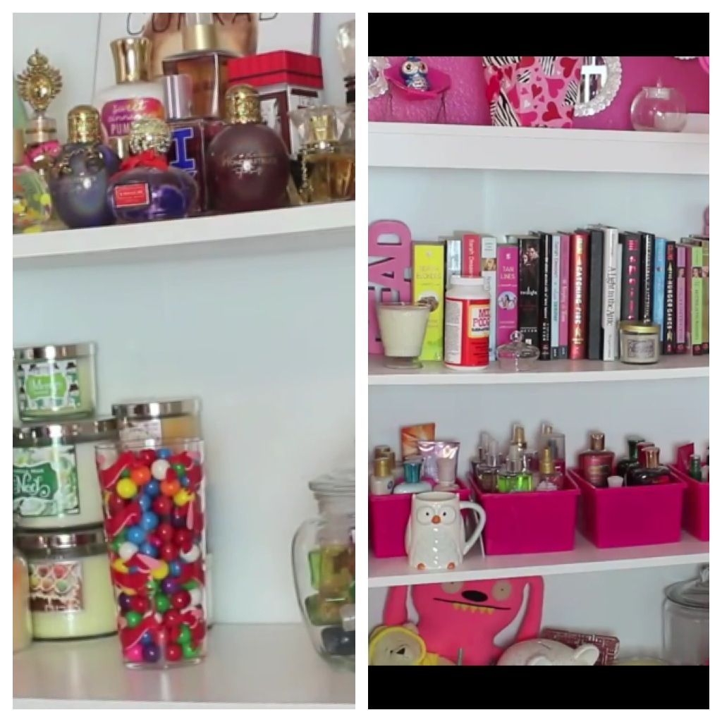 bethany mota bedroom. Shelving inspiration from beth Body lotion product organization idea How to organize your body