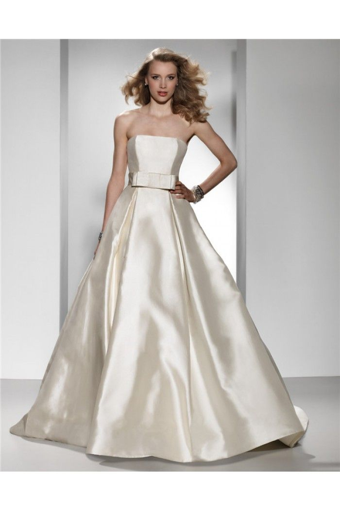 Simple Ball Gown Strapless Ivory Satin Wedding Dress With Bow Sash ...