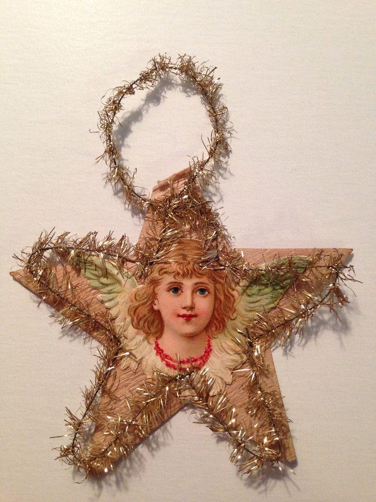 Antique Victorian Scrap And Tinsel Christmas Ornament