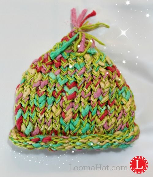 Loom Knit Baby Pixie Hat Pattern Free Made With Slub Yarn Knifty
