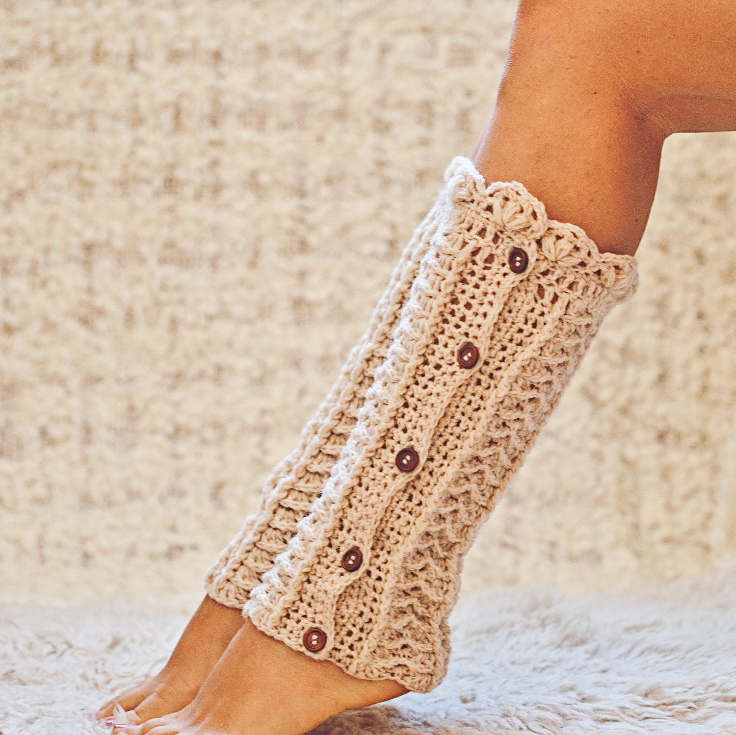 Ivory Buttoned Leg Warmers, crochet pattern by Mon Petit Violon ...