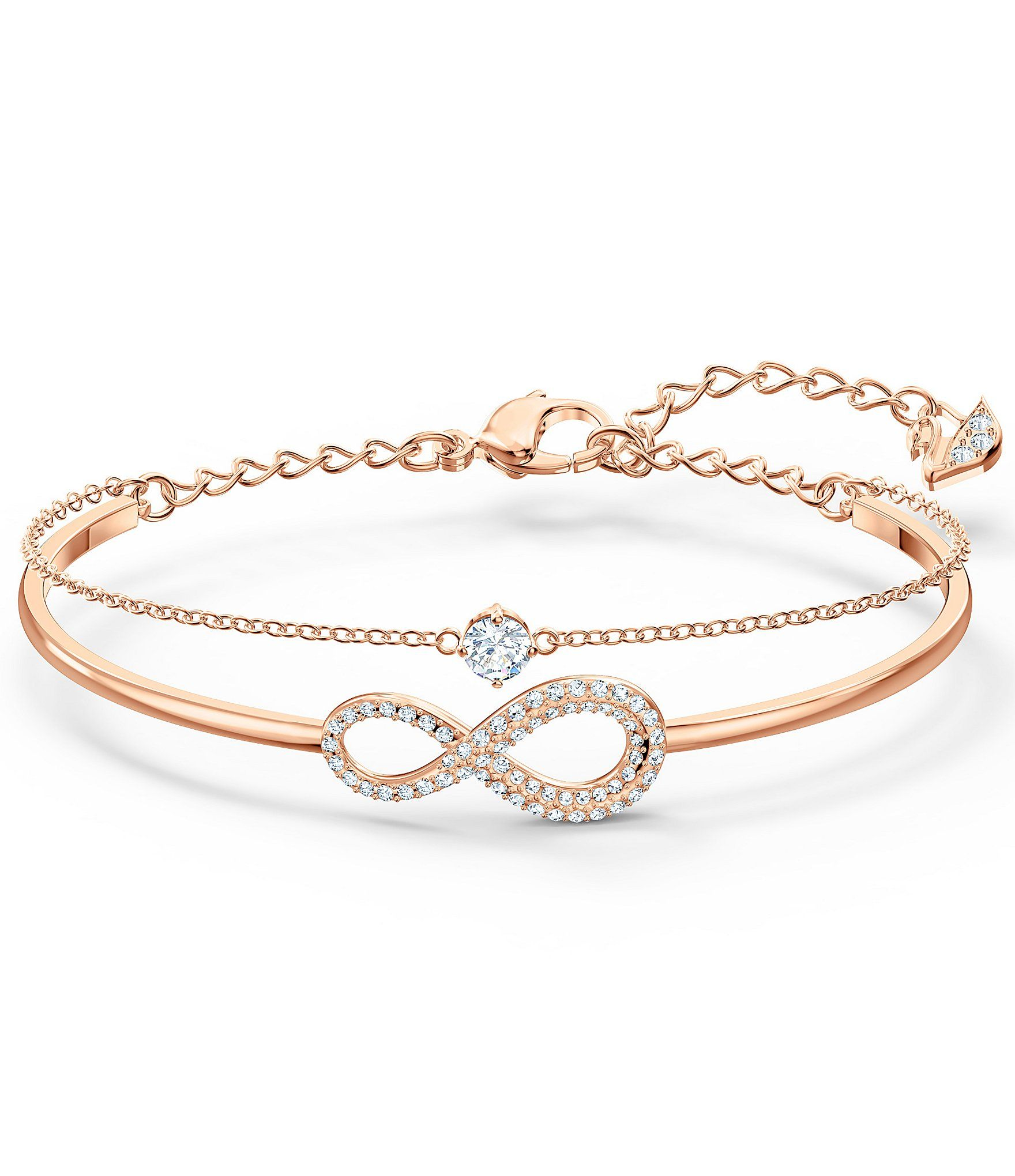 Swarovski Infinity Bangle Bracelet - Rose Gold