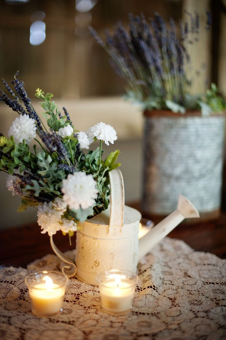 Wedding decorations without flowers  Rustic wedding centerpieceswedding centerpieces watering can