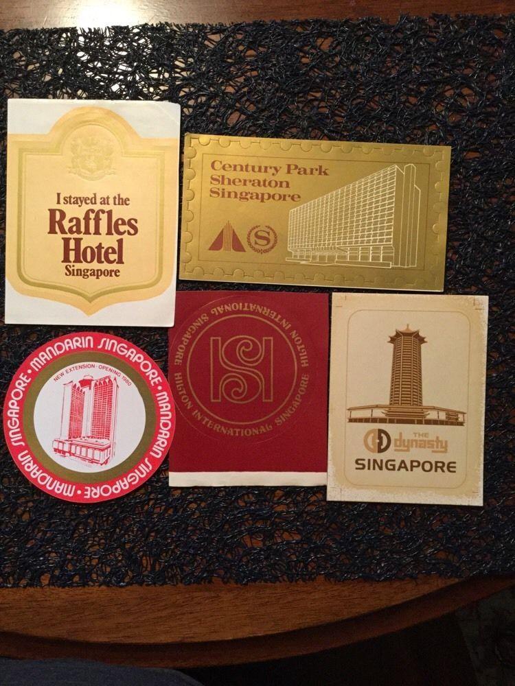 VINTAGE LUGGAGE LABELS~SINGAPORE hotels Lot Of 5 Raffles, Mandarin, Dynasty Etc. #SINGAPOREHiltonmandarindynastyrafflessher