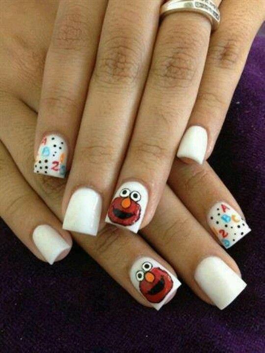 Uñas de elmo | Fiesta guates 1 | Pinterest | Uñas lindas, Diseños de ...
