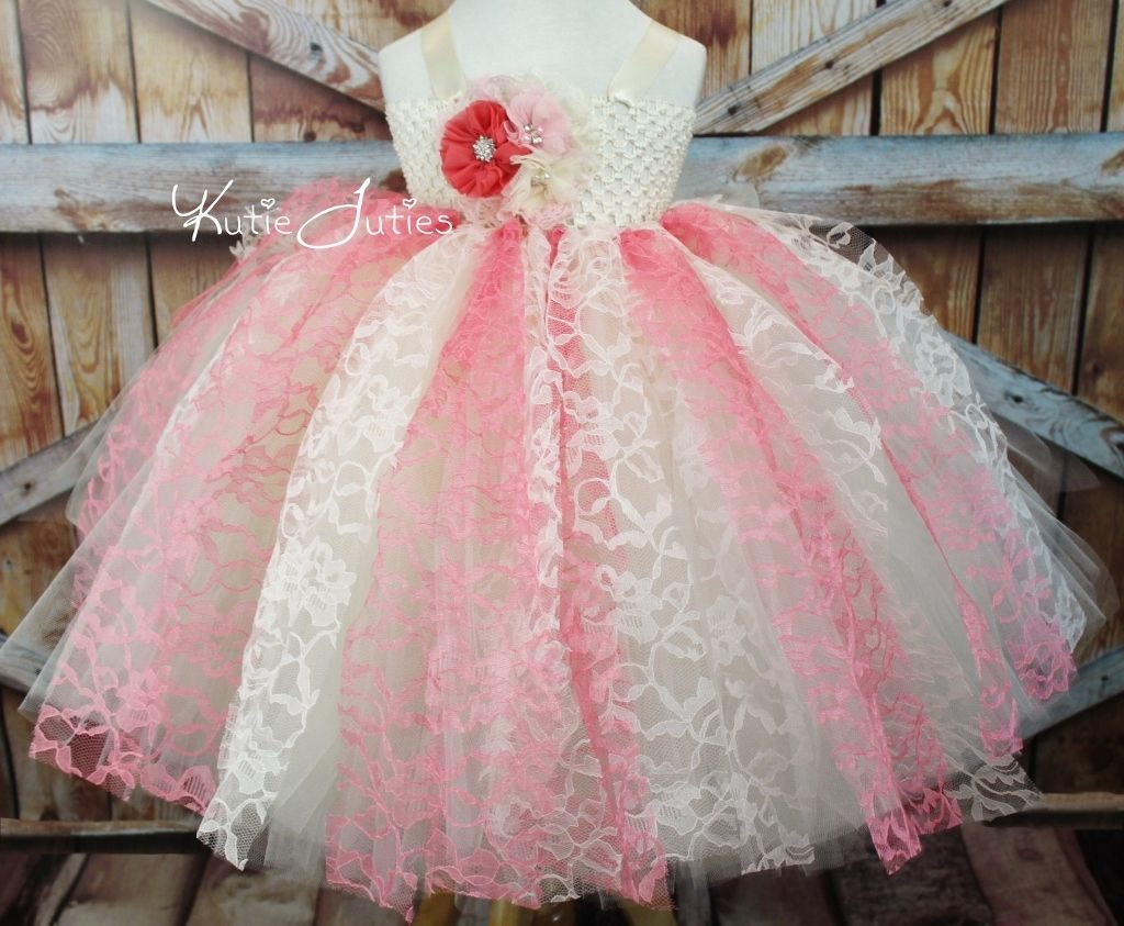 Kutie Tuties - Coral, Pink, and Ivory Lace Tutu Dress, flower girl ...