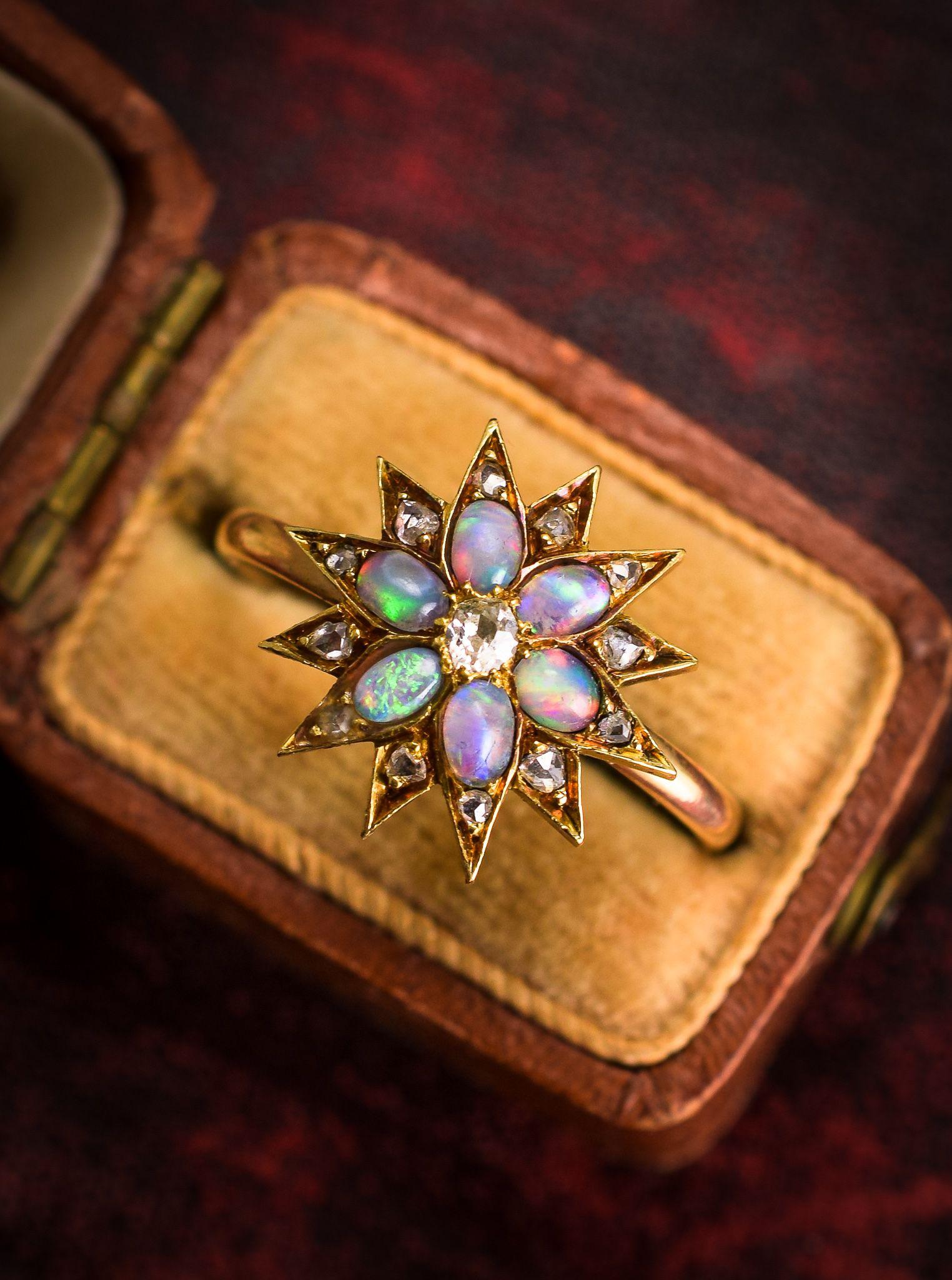 Victorian Opal & Diamond Star Ring Opal wedding ring set