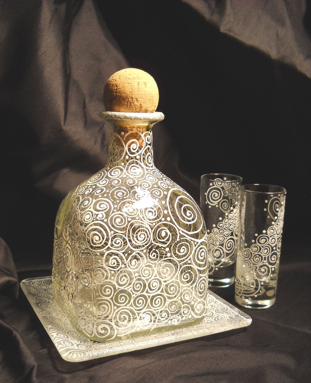 Wedding decorations with wine bottles  Hand Painted Decanter Serving Set Painted Shot Glass Cordials