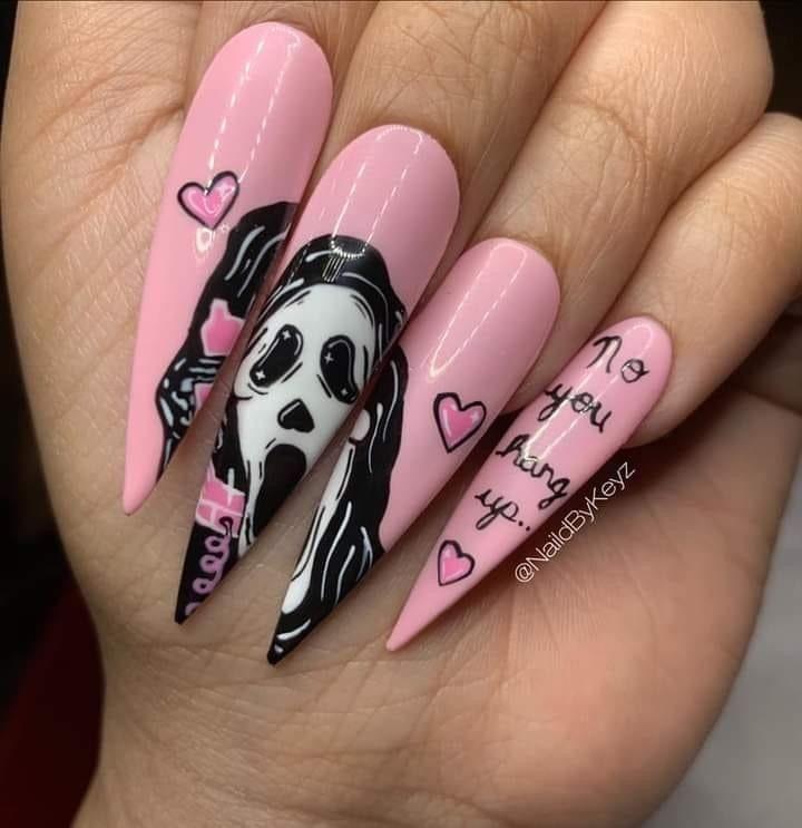 Scream Halloween Nails In 2020 Halloween Acrylic Nails Halloween Nails Halloween Nail Designs