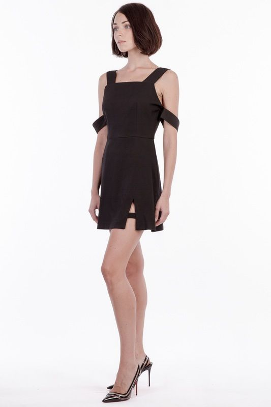 'Inverness' detachable armband dress with side slit.