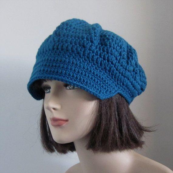 Teal Blue Crochet Hat - Womens Newsboy Cap - Fall Fashion ...
