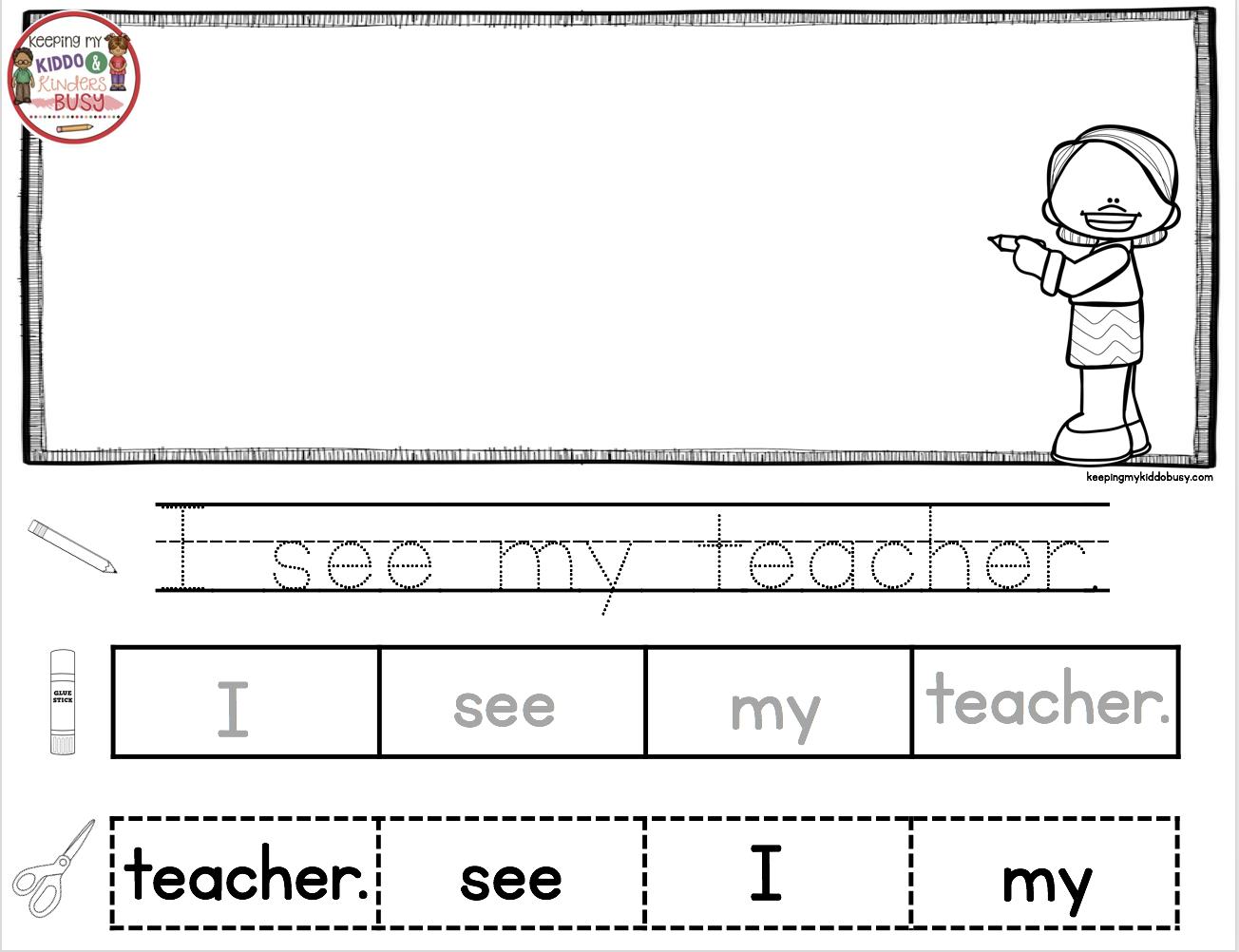 Reading And Writing Back To School In Kindergarten Free Week Keeping My Kiddo Busy Writing Station Kindergarten Kindergarten Writing Sentences Kindergarten [ 1002 x 1304 Pixel ]