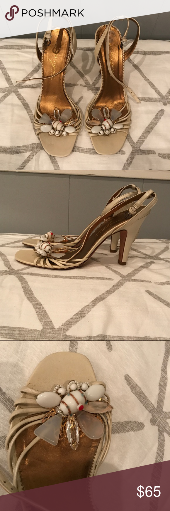 Anthropologie Imagine Shoes These Anthropologie Imagine (by Vince Camuto) shoes are extraordinary because of its beautifully done work and bead detail in the front. In offwhite and gold leather. Some minor wear and scratches on the heels but still in great condition. No Trades. 😊 Anthropologie Shoes Heels