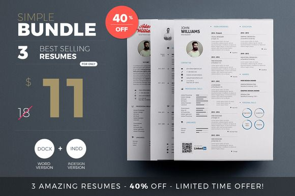 Simple Resume - Bundle Edition by Paul on Creative Market
