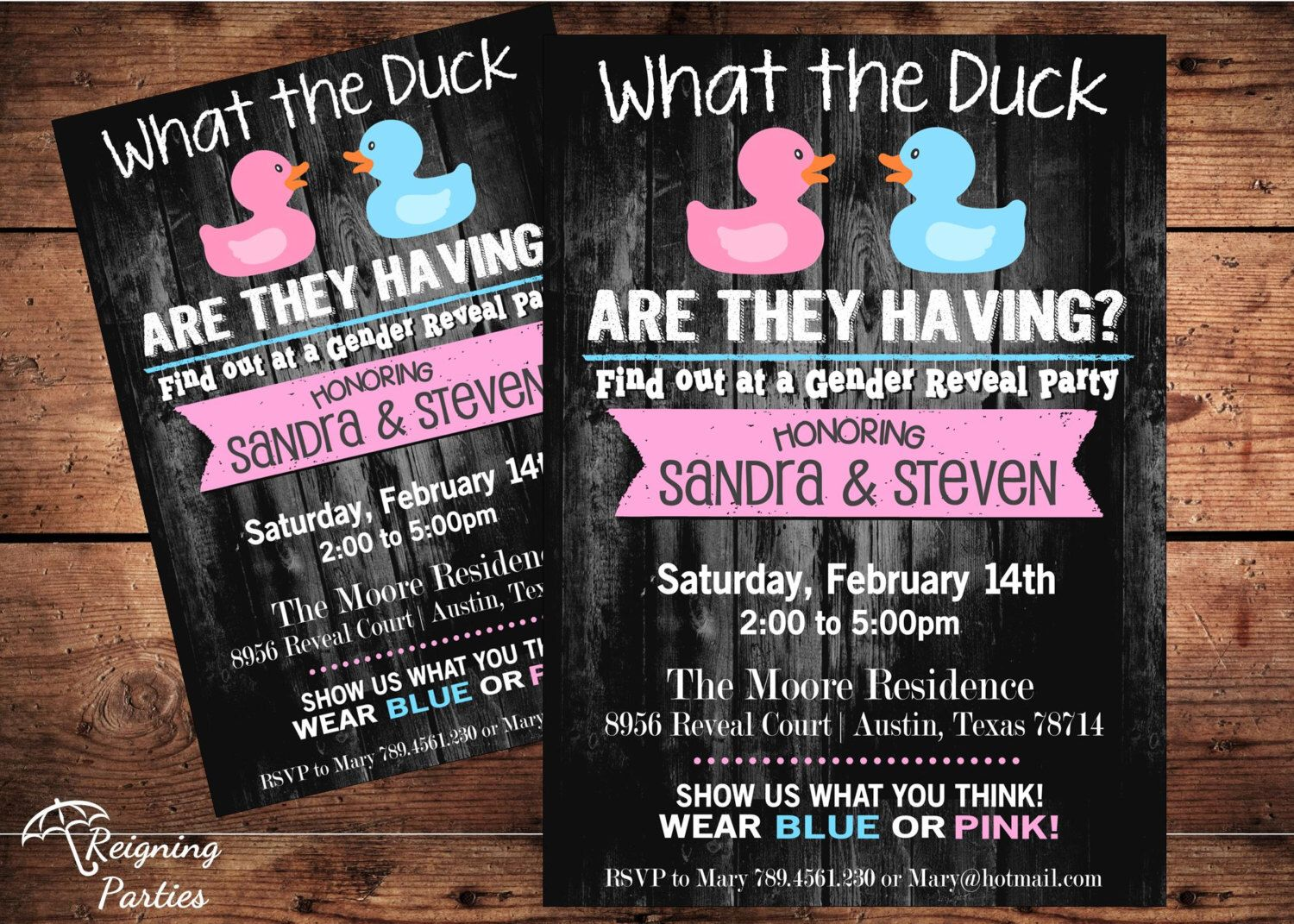 Funny Duck Gender Reveal Invitation Rubber Duck Team