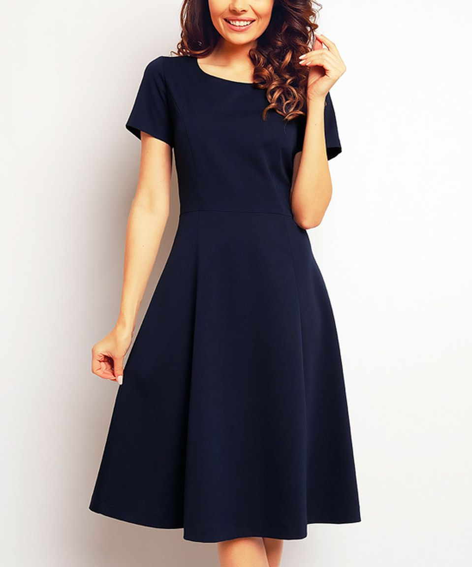 Loving this Blue Fit & Flare Dress on #zulily! #zulilyfinds