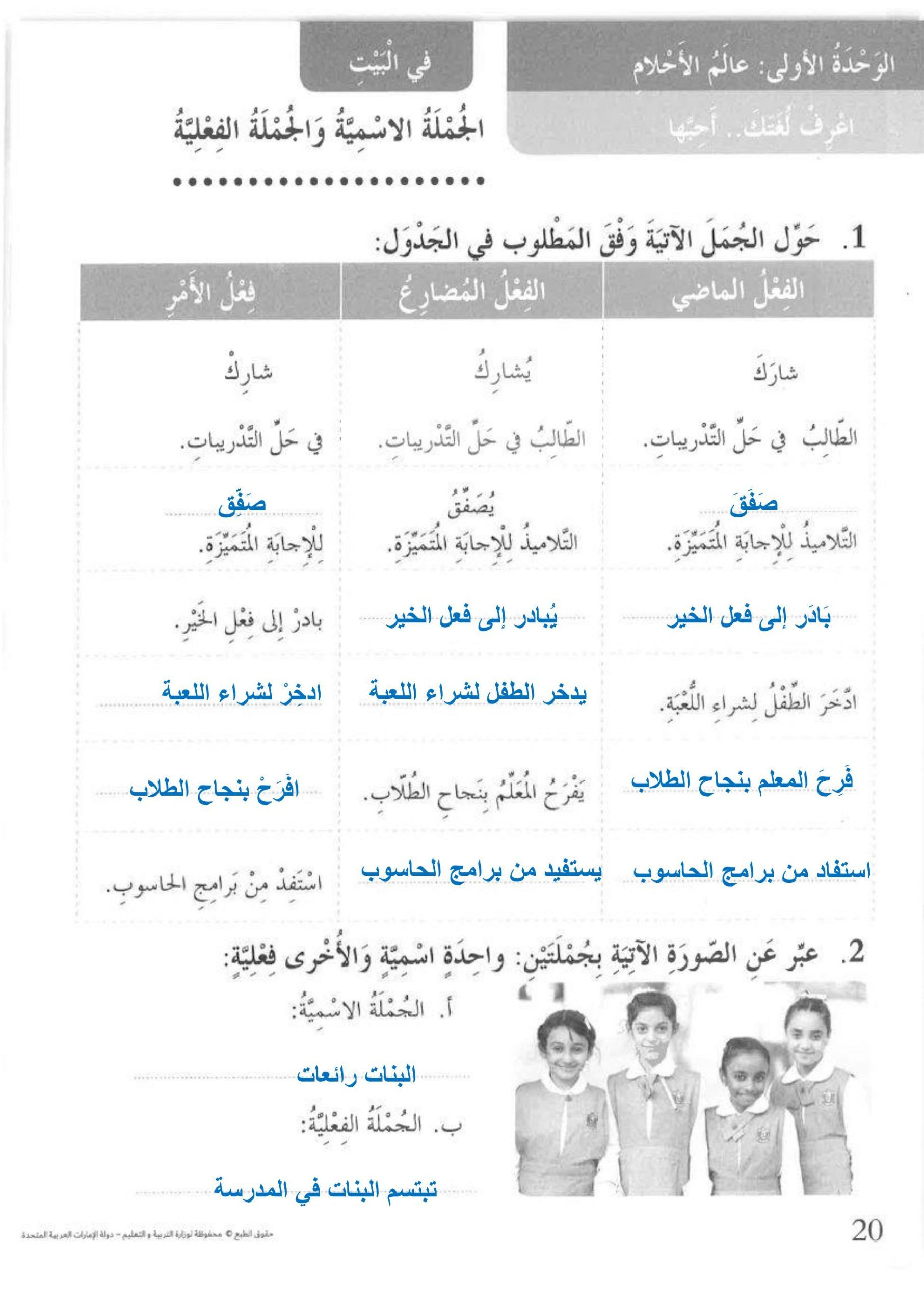 كتاب النشاط درس الجملة الاسمية والجملة الفعلية مع الاجابات للصف الثالث مادة اللغة العربية Arabic Resources Resources