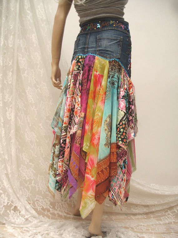 5854a671ce Denim Festival folk maxi skirt Boho upcycled skirt gypsy | Bohhemian ...