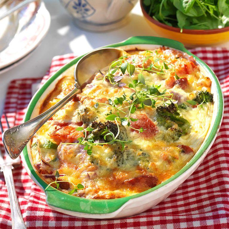 Kryddig Korvgratang Med Broccoli Och Tomat Recept Korvrecept