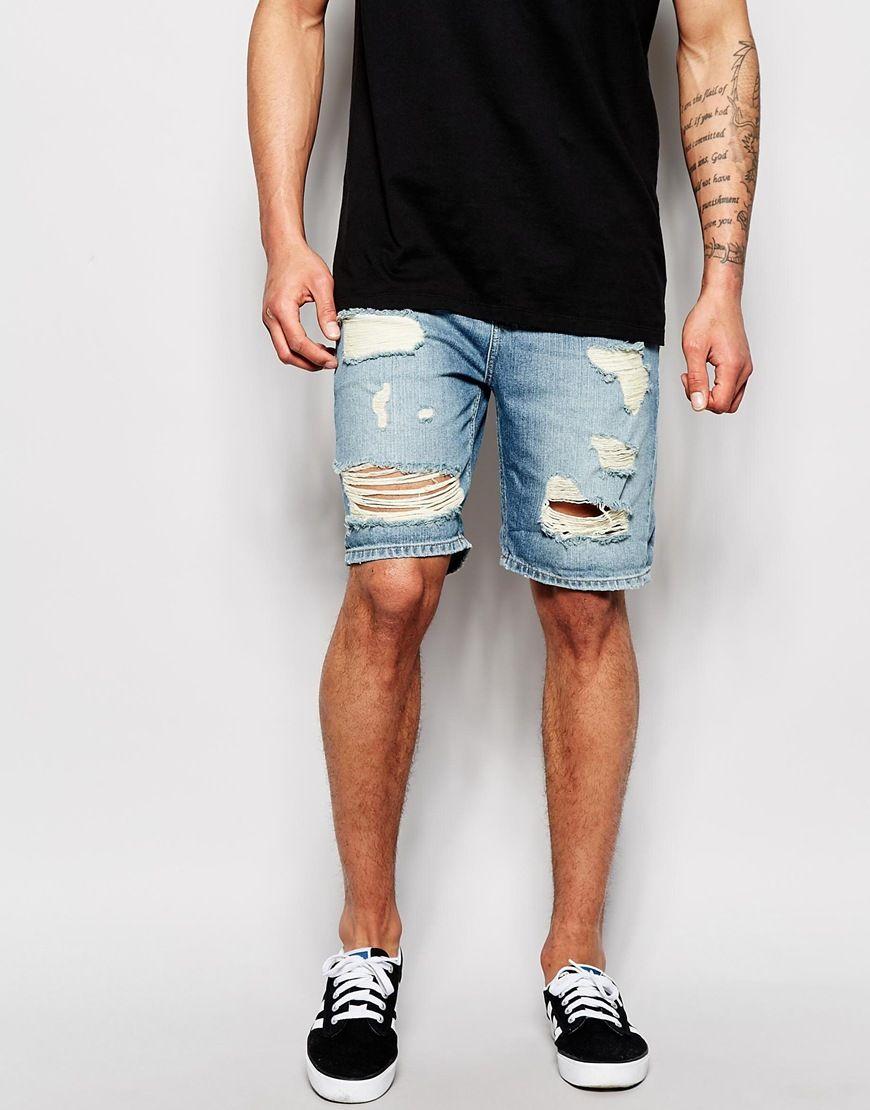 ASOS Denim Shorts In Slim Fit With Rip And Repair Detail